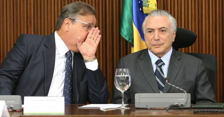 O ministro Geddel e Temer, em Brasília.