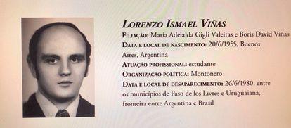 Reprodução de ficha da Comissão Nacional da Verdade sobre o desaparecido político ítalo-argentino Lorenzo Ismael Vinãs.