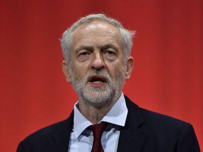 Jeremy Corbin, durante o congresso do Partido Trabalhista em Brighton.