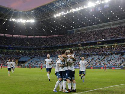 Seleção da Argentina celebra gol na Copa América de 2019, disputada no Brasil.