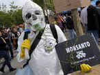 Manifestação contra a Monsanto em Paris no sábado.