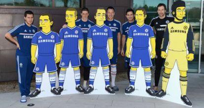 Fernando Torres, entre os cinco jogadores do Chelsea caricaturados.