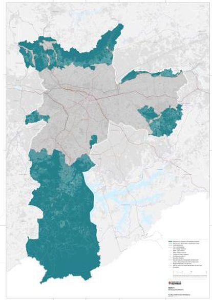 Mapa mostra área (verde) onde não será estimulado o crescimento e a cinza, que deve concentrar o adensamento.