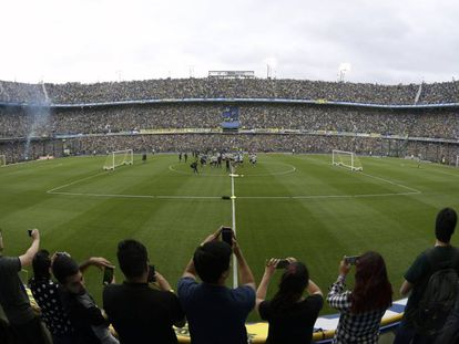 Boca Juniors, no último treinamento na Bombonera antes da final