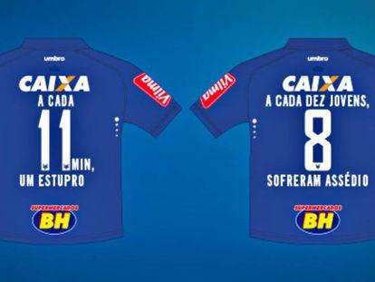 Números da violência contra a mulher na camisa do Cruzeiro.