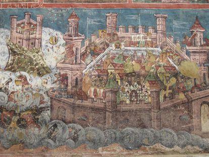 Mural mostrando o cerco de Constantinopla, em 626, pelos persas e ávaros.