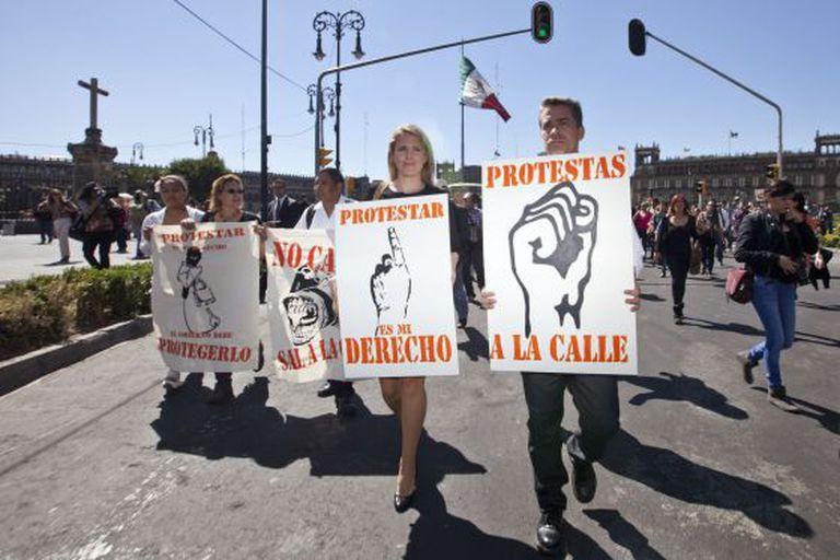 Marcha contra as agressões a jornalistas em março.
