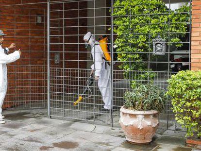 Aplicação, em maio, de inseticida contra o Aedes aegypti, em Porto Alegre.