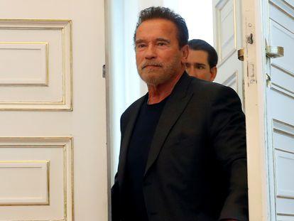 Arnold Schwarzenegger em uma visita à Áustria, seu país de origem.