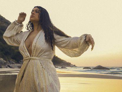 A cantora Preta Gil durante a gravação do clipe 'Meu xodó'.
