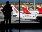 FILE PHOTO: Iberia and Air Europa airplanes are parked at a tarmack at Adolfo Suarez Barajas airport amid the coronavirus disease (COVID-19) pandemic in Madrid, Spain, December 15, 2020. REUTERS/Susana Vera/File Photo