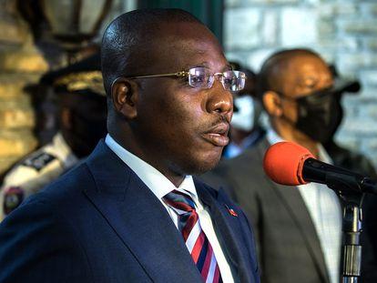 Claude Joseph, primeiro-ministro interino do Haiti, durante uma coletiva de imprensa, em 11 de julho.