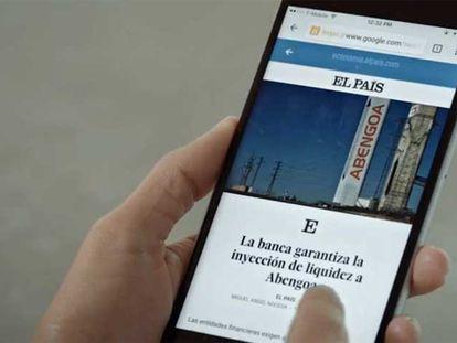 Imagem do site do EL PAÍS no celular.