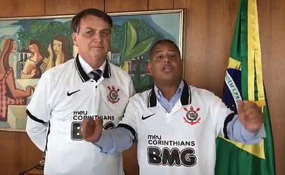 Bolsonaro e Marcelinho gravam vídeo durante encontro em Brasília.