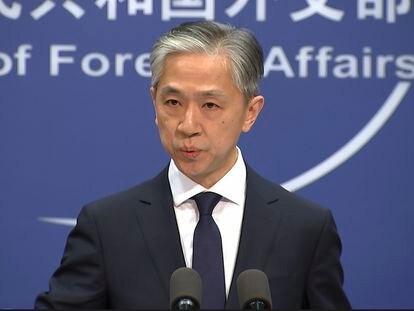 O porta-voz da chancelaria chinesa, Wang Wenbin, em uma entrevista coletiva nesta sexta-feira em Pequim.