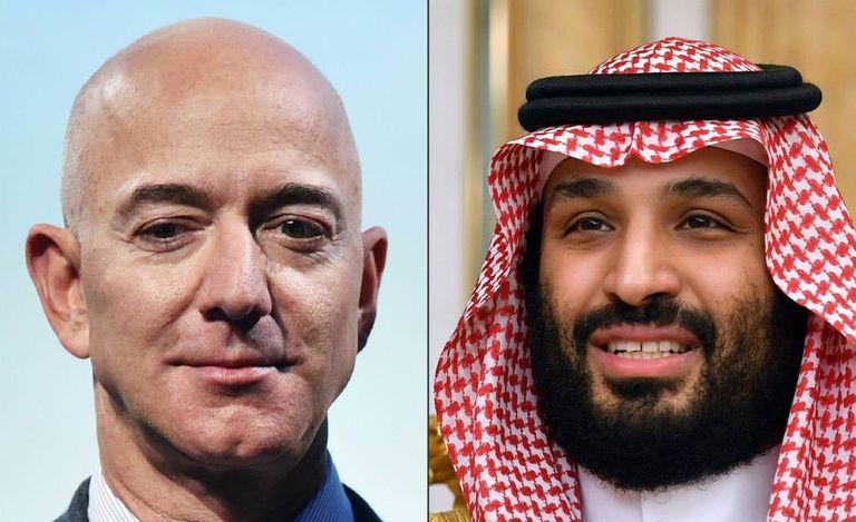 Jeff Bezos (à esquerda), fundador da Amazon, e o príncipe herdeiro da Arábia Saudita, Mohammed bin Salman.