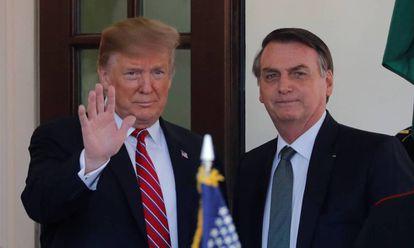 Trump e Bolsonaro na Casa Branca, em março.