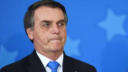 O presidente Bolsonaro no dia 28, no Palácio do Planalto.