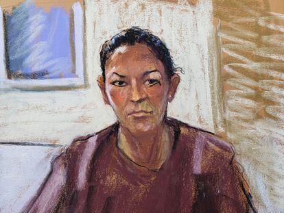 Ghislaine Maxwell, durante audiência num tribunal de Manhattan, em 14 de julho passado