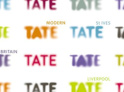 O design mais reconhecido da artista brasileira é o mutante e colorido logo do museu britânico Tate Modern.