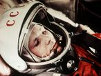 Soviet cosmonaut yuri gagarin, first man in space, in the capsule of vostok 1, april 12, 1961. (Photo by: Sovfoto/Universal Images Group via Getty Images)