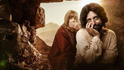 Fábio Porchat (esquerda) como Orlando e Gregório Duvivier como Jesus em imagem de divulgação do especial de Natal do Porta dos Fundos.