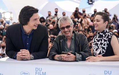 Adam Driver, Marion Cotillard and Leos Carax on Tuesday in Cannes.