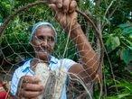 Marlene dos Santos Santana, 68 anos, é pescadora da comunidade de Campinhos.
