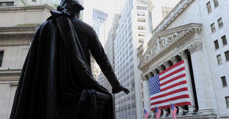 A entrada da Bolsa de Nova York.