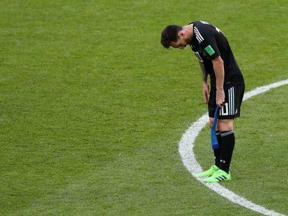 Messi, no final do duelo contra a Islândia