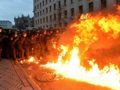 Um protesto em Kiev.