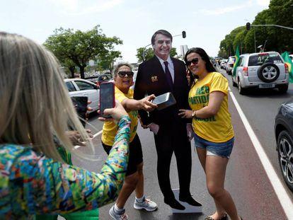 Apoiadoras de Bolsonaro em Brasília.