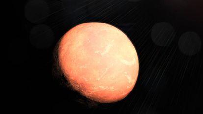 Reconstrução artística do planeta intermediário no novo sistema solar descoberto na anã vermelha GJ 357.