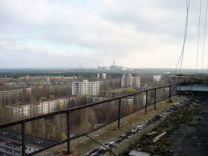 A central de Chernobyl vista de Prípiat