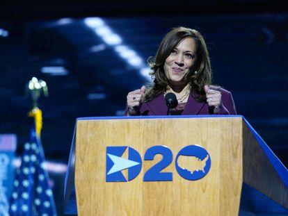 Kamala Harris, nesta quarta-feira, durante seu discurso em Wilmington, Delaware.