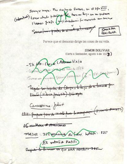 Anotações feitas pelo escritor para 'O general em seu labirinto'.