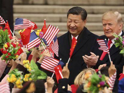 Donald Trump e Xi Jinping em novembro passado, em Pequim.