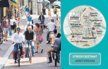 A rua de Utrechtsestraat, em Amsterdã.