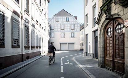 Ciclovia na cidade francesa de Estrasburgo.