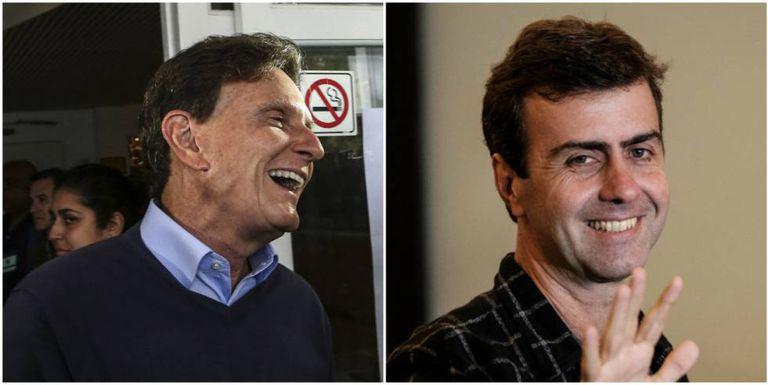 Crivella e Freixo durante a votação. A. LACERDA/ V. ALMEIDA