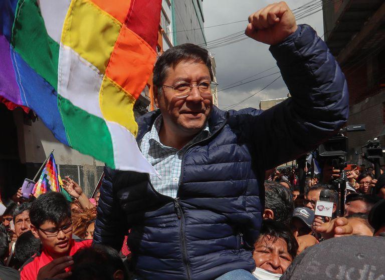 O candidato do Movimento ao Socialismo, Luis Arce, nesta segunda-feira.
