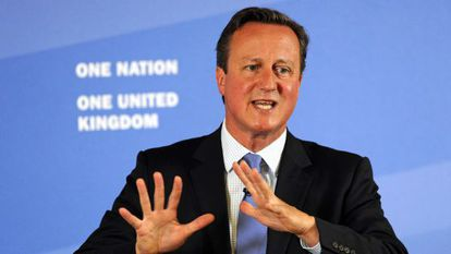 O primeiro-ministro britânico, David Cameron, durante um discurso em Leeds.