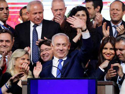 O primeiro-ministro Benjamin Netanyahu após as prévias do resultado das urnas