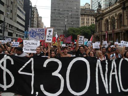 Protesto contra o aumento da passagem em São Paulo no dia 10 de janeiro.