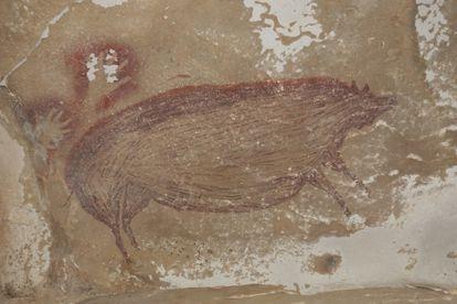 A pintura rupestre de Leang Tedongnge (Indonésia) que mostra o desenho de um javali da espécie 'Sus celebensis', pintado há pelo menos 45.500 anos.