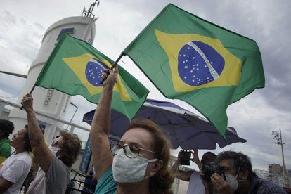 Manifestação a favor de Bolsonaro em Copacabana, no último domingo.