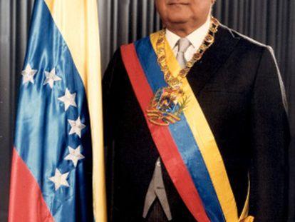 Lusinchi durante sua posse, em 1984.