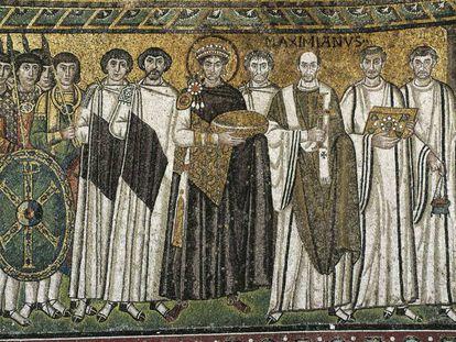 Mosaico do século VI do imperador Justiniano e sua corte, na Basílica de San Vital em Ravena.
