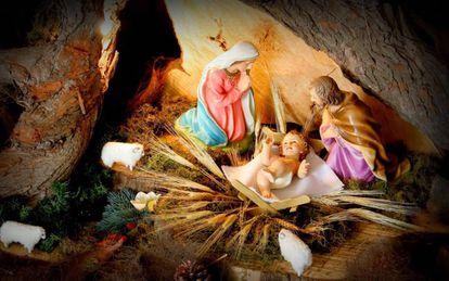 Imagem de um belén que representa o nascimento de Jesús.