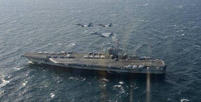 O porta-aviões norte-americano USS Ronald Reagan